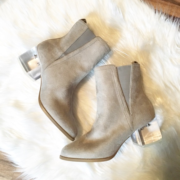 2b007b506c1f8 Wild Diva Shoes | Light Grey Suede Booties With See Through Heel ...